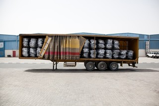 A trailer full of UNHCR tents, intended for refugees along the border between Ethiopia and South Sudan. Pieter van den Boogert for The Correspondent