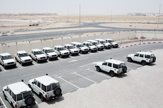 Vehicle fleet of the International Federation of Red Cross and Red Crescent Societies, ready for transport to a disaster area. Pieter van den Boogert for The Correspondent