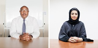 Left:  Soliman Daud of the UNHCR in Dubai. Right:  Shaima Al-Zarooni, CEO of the IHC in Dubai. Pieter van den Boogert for The Correspondent