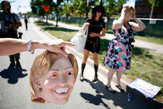 A protestor dons a Hillary Clinton mask during a march and rally in Denver on the 26th of August, 2008. Photo: Damon Winter / The New York Times