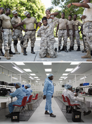 Top: New Haitian police recruits being trained in how to cuff an individual. Below: The factory belonging to Surtab, which manufactures its tablets entirely in Haiti. Photos by Pieter van den Boogert