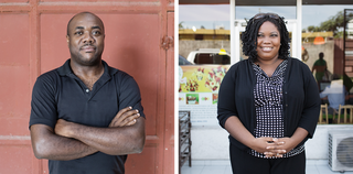 """Haitians from the diaspora who have returned to start their own businesses. Left: Duquesne Fednard from D&E Green. Right: Katleen Jeanty, owner of the """"fruitbar"""" BelFwi. Photos by Pieter van den Boogert"""
