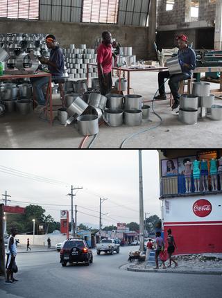Top: Duquesne Fednard's factory makes fuel-efficient stoves. Below: New roads in Port-au-Prince. Photos by Pieter van den Boogert