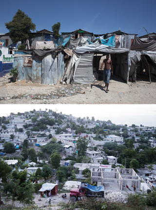 Top: Some 80,000 people are still living in IDP camps like this one. Below: Most Haitians choose not to paint their houses in order to avoid paying taxes on them. Photos by Pieter van den Boogert