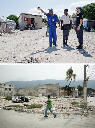 Top: Haitian police officers patrol in Caradeux, accompanied by their U.N. trainers. Below: In many areas of Port-au-Prince, the rubble has yet to be replaced with new buildings. People sometimes avoid rebuilding out of a fear of ghosts, in accordance with their Vodou religion. Photos by Pieter van den Boogert