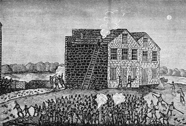The mob attacking the warehouse of Godfrey Gilman & Co. in Alton, Illinois, on the night of November 7, 1837. Image courtesy of Internet Archive Book Images